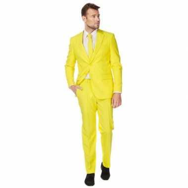 Fel geel carnavalskleding pak voor heren