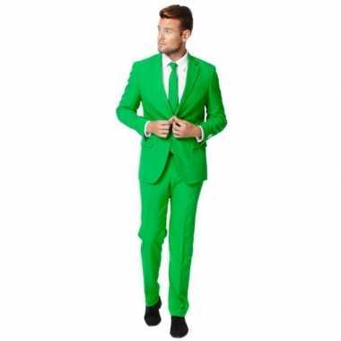 Fel groen carnavalskleding pak voor heren
