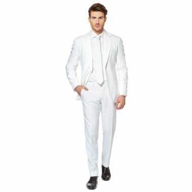 Fel wit carnavalskleding pak voor heren