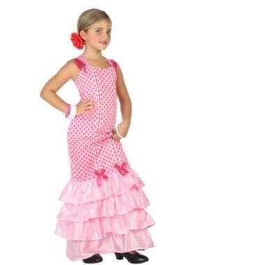 Flamenco danseres carnavalskleding voor kinderen roze
