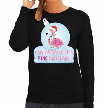 Flamingo kerstbal sweater / kerst carnavalskleding i am dreaming of a pink christmas zwart voor dames