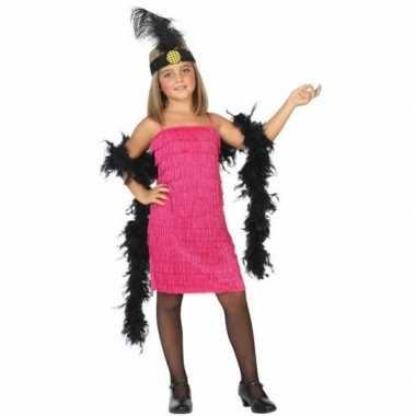 Flapper franje carnavalskleding/jurkje roze voor meisjes