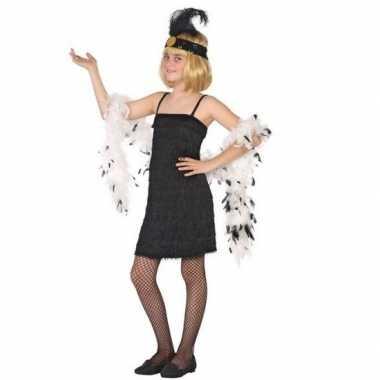 Flapper franje carnavalskleding/jurkje zwart voor meisjes