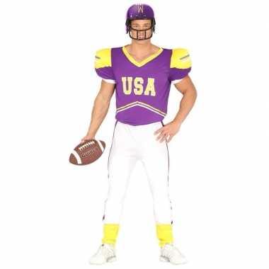 Football carnavalskleding paars/geel voor heren
