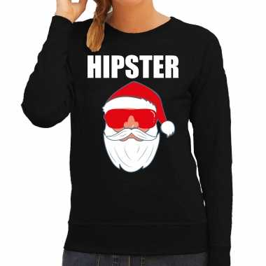 Foute kerst sweater / kerst carnavalskleding hipster santa zwart voor dames