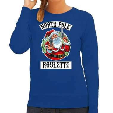 Foute kerstsweater / carnavalskleding northpole roulette blauw voor dames