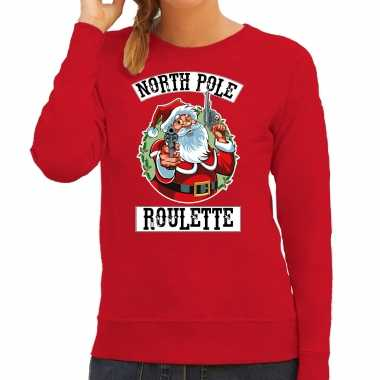 Foute kerstsweater / carnavalskleding northpole roulette rood voor dames