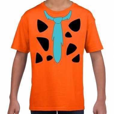 Fred holbewoner carnavalskleding t shirt oranje voor kinderen
