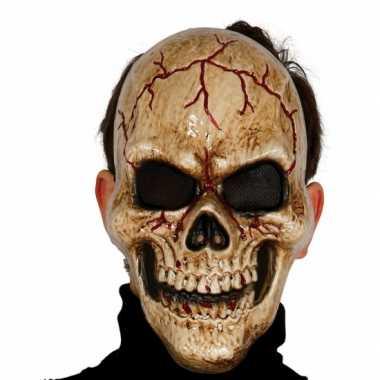 Gebarsten schedel masker voor skelet carnavalskleding