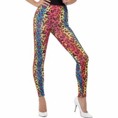 Gekleurde luipaardprint 80s legging carnavalskleding voor dames