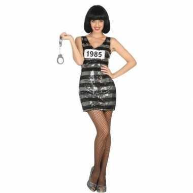 Gevangene/boef ann carnavalskleding/jurk zwart/zilver voor dames