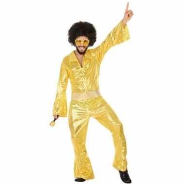 Gouden disco pak/carnavalskleding voor heren
