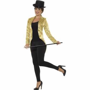 Gouden slipjas met pailletten carnavalskleding/jas voor dames