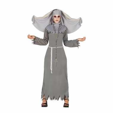 Grijze geest nonnen carnavalskleding voor dames