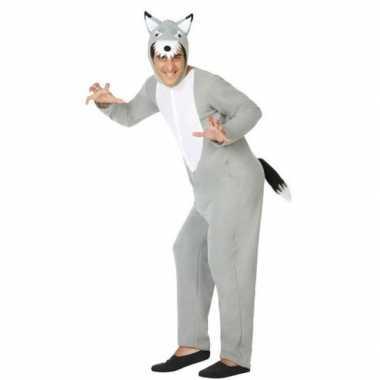 Grijze wolf dieren carnavalskleding/onesie voor volwassenen