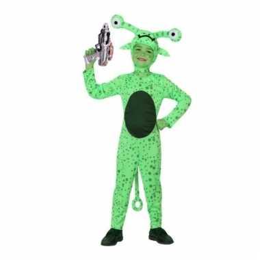 Groen alien carnavalskleding inclusief space gun voor kids