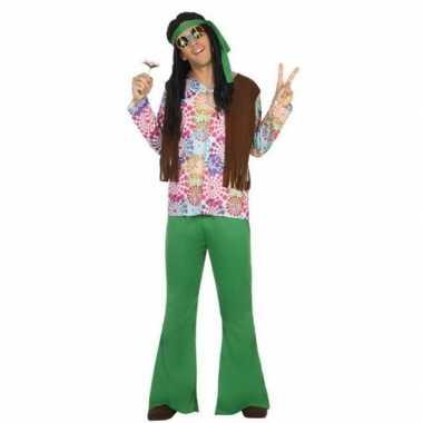 Groen/bruine hippie/flower power carnavalskleding voor heren