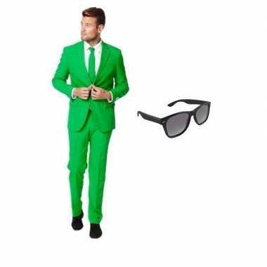 Groen heren carnavalskleding maat 48 (m) met gratis zonnebril