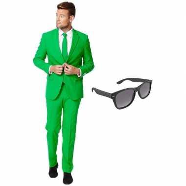 Groen heren carnavalskleding maat 56 xxxl met gratis zonnebril