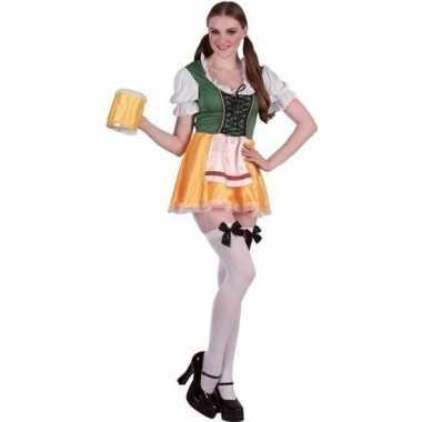Groene/gele dirndl carnavalskleding/jurkje voor dames