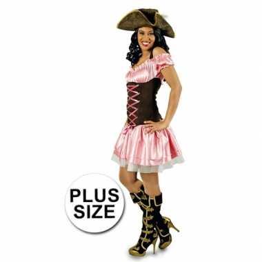 Grote maat carnavalskleding roze piratenjurkje