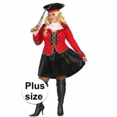 Grote maat kapitein piraat grace pak/carnavalskleding voor dames