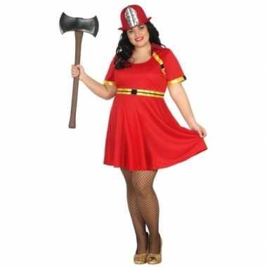 Grote maten brandweer carnavalskleding voor dames