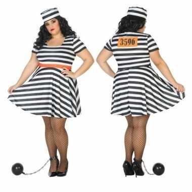 Grote maten gevangene/boef bonnie carnavalskleding voor dames