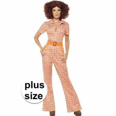 Grote maten oranje jaren 70 carnavalskleding voor dames