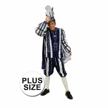 Grote maten prins carnaval carnavalskleding blauw wit