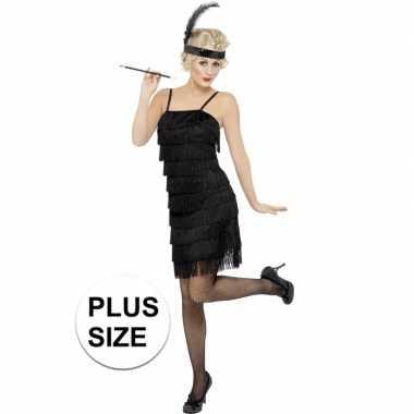 Grote maten zwart flapper jaren 20 carnavalskleding voor dames