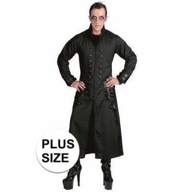 Grote maten zwarte gothic/vampier jas carnavalskleding voor heren