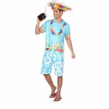 Hawaiiaanse blouse carnavalskleding blauw voor heren
