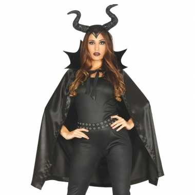 Heks met hoorns carnavalskleding cape voor dames