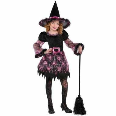 Heksen carnavalskleding spinnenweb voor meisjes
