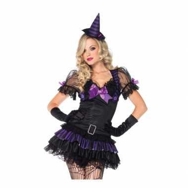 Heksen carnavalskleding zwart/paars voor dames