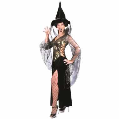 Heksen dames carnavalskleding zwart met goud