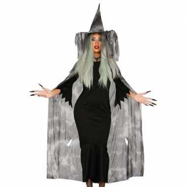 Heksencape carnavalskleding met hoed voor dames