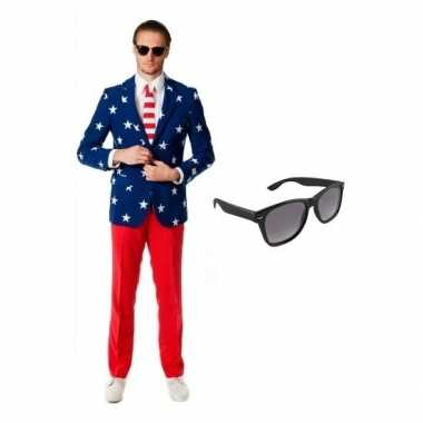 Heren carnavalskleding met amerikaanse vlag print maat 50 (l) met gra