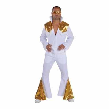 Heren elvis carnavalskleding wit met goud