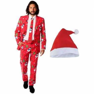 Heren opposuits kerst carnavalskleding rood met kerstmuts maat 52 (xl