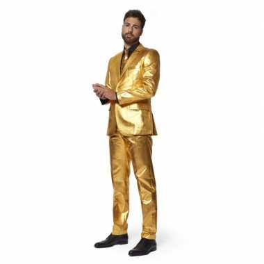 Heren pak/carnavalskleding metallic goud met stropdas