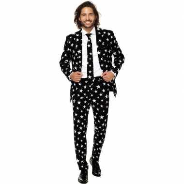 Heren pak/carnavalskleding zwart met sterren print