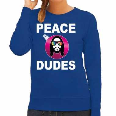 Hippie jezus kerstbal sweater / kerst carnavalskleding peace dudes blauw voor dames