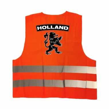 Holland fan hesje met zwarte leeuw ek / wk supporter carnavalskleding voor volwassenen