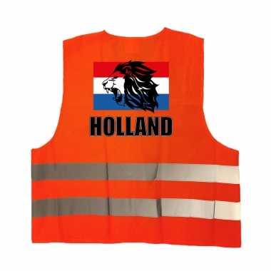 Holland vlag met leeuw oranje veiligheidshesje ek / wk supporter carnavalskleding voor volwassenen