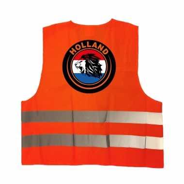 Hollandse leeuw veiligheidshesje oranje ek / wk supporter carnavalskleding voor volwassenen