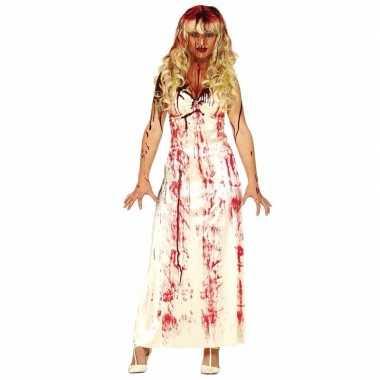 Horror carnavalskleding lange bloederige witte jurk