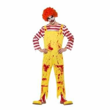 Horror clown carnavalskleding rood/geel voor heren
