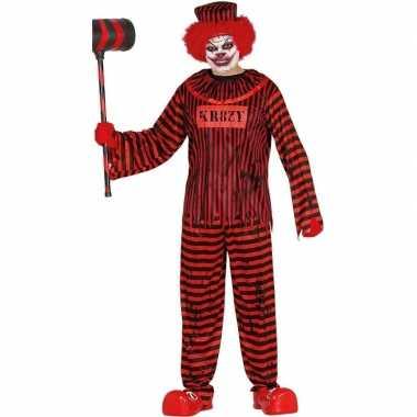 Horror clown gevangene carnavalskleding rood/zwart voor heren